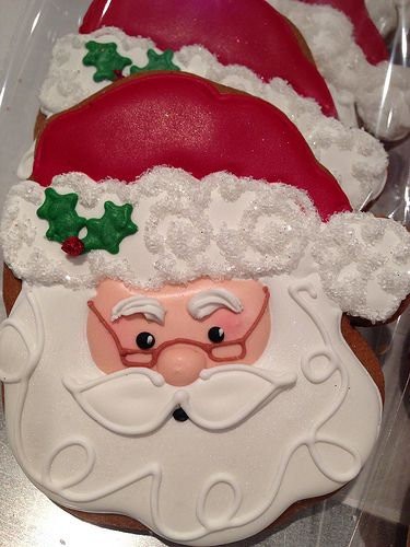 Love the details on these Santa cookies.