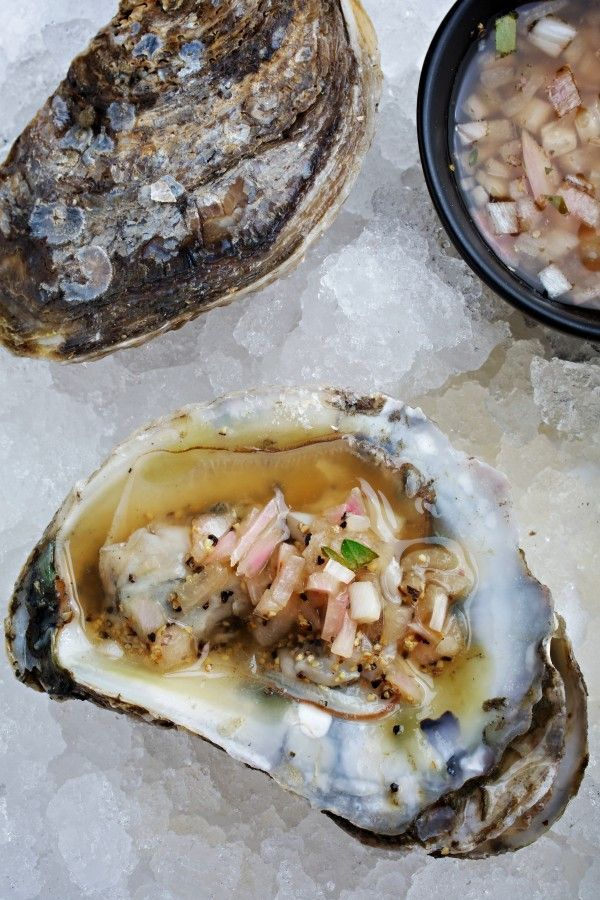 Oysters with Yuzu Mignonette (via The Washington Post): Oysters Ole, Thanksgiving Meal, Filling Appetizer, Oysters Recipes, Rcfc Seafood Recipes, Mignonette Recipe, Oysters With Yuzu Mignonette, Seafood Shellfish