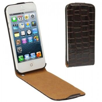 Crocodile Pattern Case for iPhone 5 - Coffee