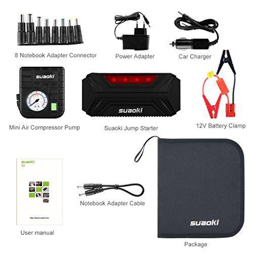 Suaoki T3 Plus - Jump Starter de 18000mAh, 600A Coche Arrancador con Mini Compresor de Aire (USB puertos 12V/16V/19V, linterna LED, cargador de batería para smartphone, tablet) - http://cargadorespara.com/comprar/bateria-de-coche/suaoki-t3-plus-jump-starter-de-18000mah-600a-coche-arrancador-con-mini-compresor-de-aire-usb-puertos-12v16v19v-linterna-led-cargador-de-bateria-para-smartphone-tablet/