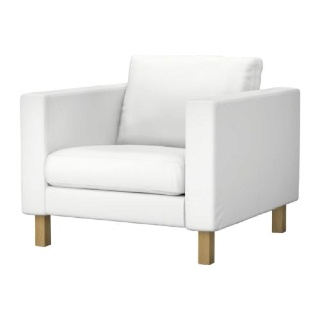 Karlstad Chair White With Metal Legs White Leather