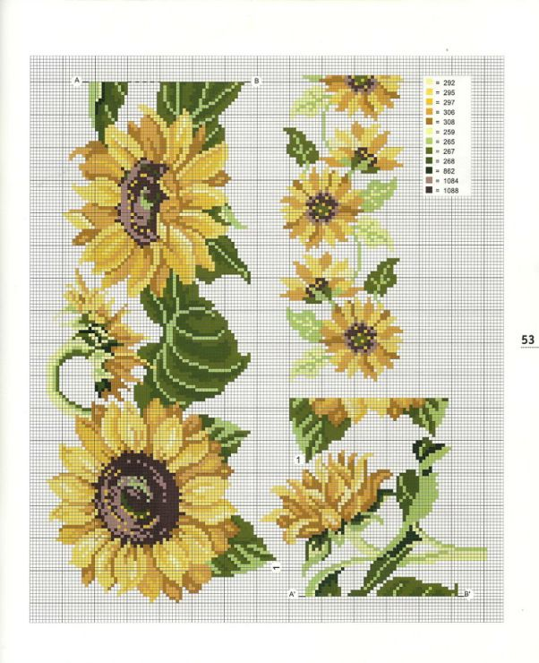 Sunflower Cross Stitch Chart