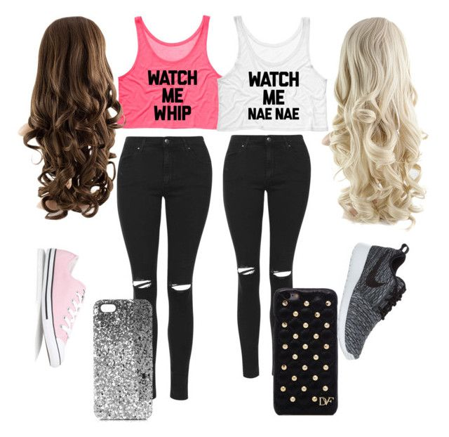 """BFF watch me whip and nae nae"" by coreysgirl4ever on Polyvore featuring Topshop, Converse, NIKE and Diane Von Furstenberg"