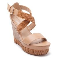 High heel platforms in beige colour with  cross over ankle straps, beige textile woven platform wedge heel and woven design detail.