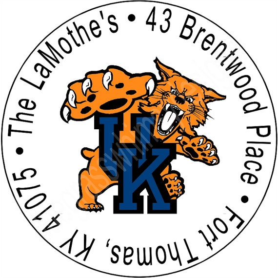 167 University of Kentucky Round Address Labels by BluegrassWhimsy, $5.00