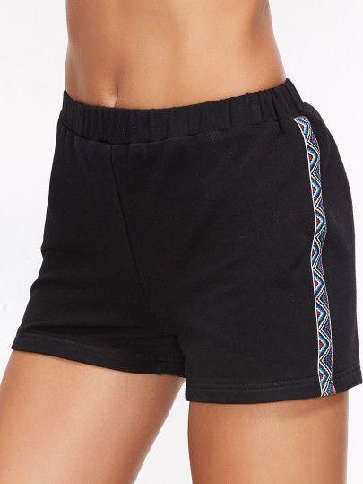 Pantalones cortos con bordado y cintura elástica-Sheinside