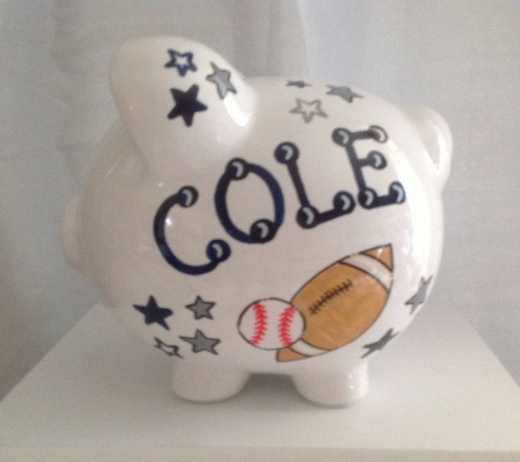 Personalized Large Piggy Bank All Sports- Football. Basketball, Soccer, Baseball-Baby Shower Gift Centerpiece by KUTEKUSTOMKREATIONS on Etsy