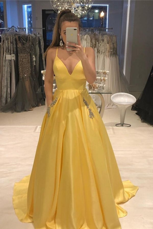 Feb 18, 2020 - Dresses Length: Floor-Length Neckline: V-Neck Train: Chapel Train Fabric Type: Satin Built-in Bra: Yes Can be customized: Yes Waistline: empire Decoration: Beading Material: Polyester Silhouette: A-Line Sleeve Style: Spaghetti Strap