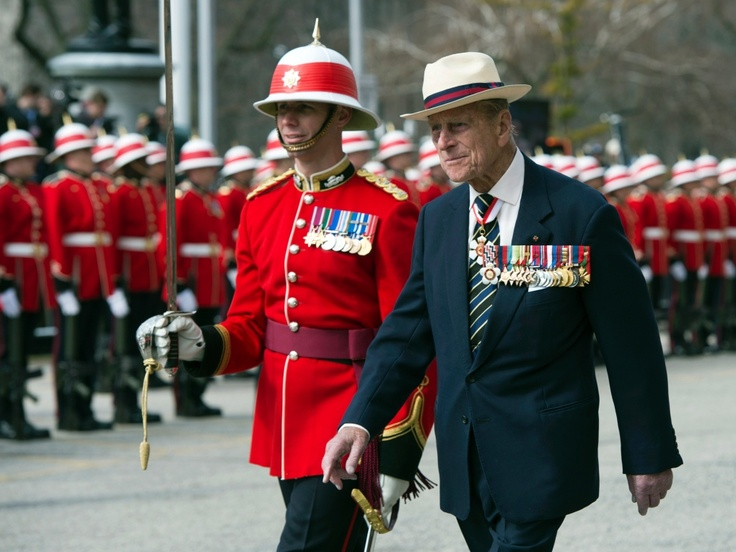 HRH Prince Phillip inspects an honour guard from the 3rd Battalion of The Royal Canadian Regiment at the Ontario Legislature in Toronto on Saturday April 27, 2013