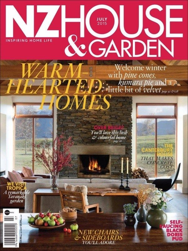 NZ House & Garden July 2015 Issue- Warm-Hearted Homes | Over Beige? | The Cantebury House | New Chairs & Side Boards | Self-Saucing black Doris Pud.  #NZHouseandGarden #InteriorDesign #Garden #House