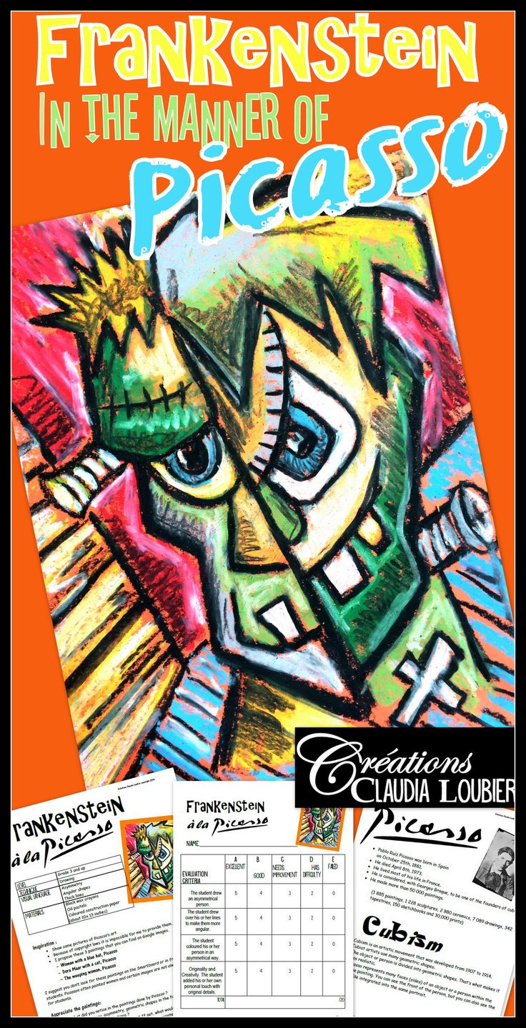 Initiate your students to cubism in this original Halloween project! Your students will have to create Frankenstein in the manner of Picasso, an unforgettable artist! This is a quick project with only a few materials needed!