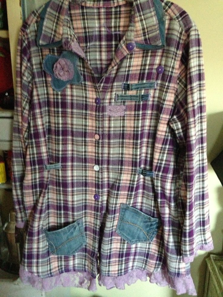 Vintage flannel shirt redesigned with denim & lace  www.rag-rags.com sold