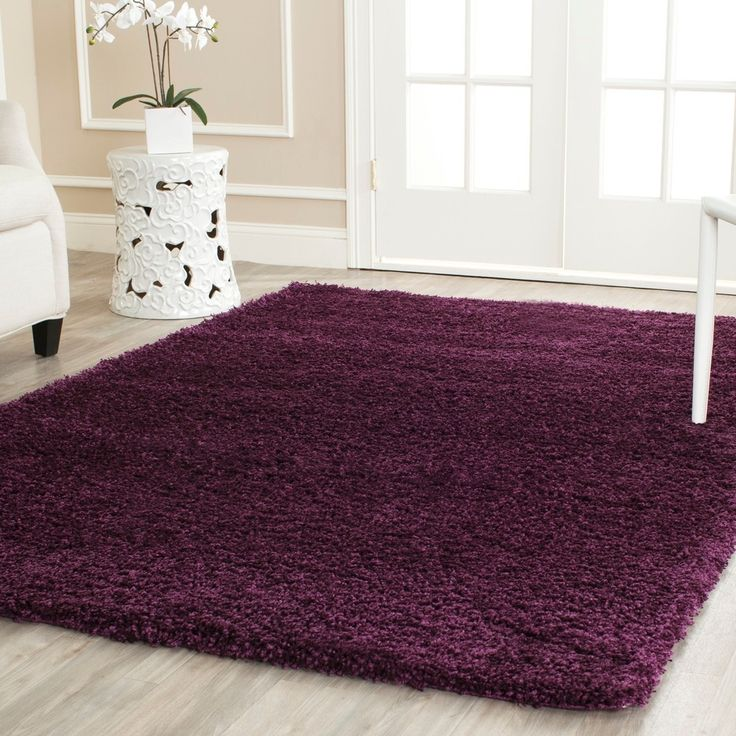 Cozy Solid Purple Shag Rug (5'3 x 7'6) | Overstock™ Shopping - Great Deals on Safavieh 5x8 - 6x9 Rugs