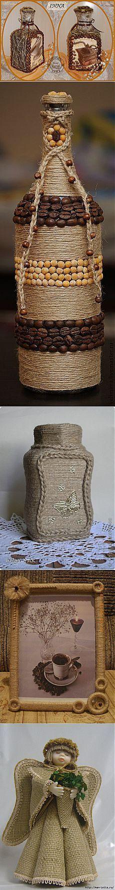 botellas decoradas con granos e hilo de mecate