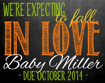 Fall Pregnancy Announcement Chalkboard Photo Prop | We're Expecting to Fall In Love | Size: 11x14 | *Digital File* | by MMasonDesigns