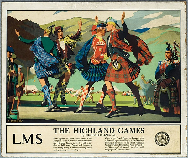 The Highland Games. Artwork by Christopher Clark, 1930s. By the time this poster was issued in the late 1930s LMS was working more closely with the old rival LNER. This poster presents, perhaps a clichéd image of Scotland with Highland dancers and a piper against a mountainous backdrop. Image © NRM Pictorial Collection / Science & Society Picture Library.