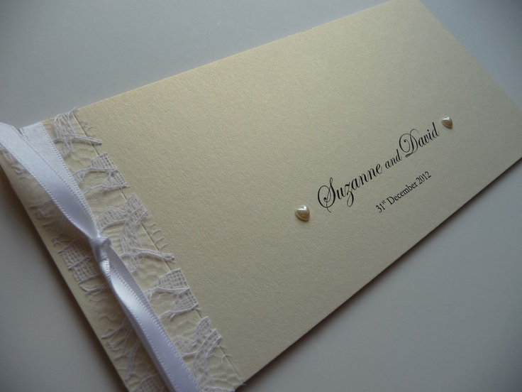 Ivory & White Lace vintage style Cheque book Wedding invitation with heart shaped pearls