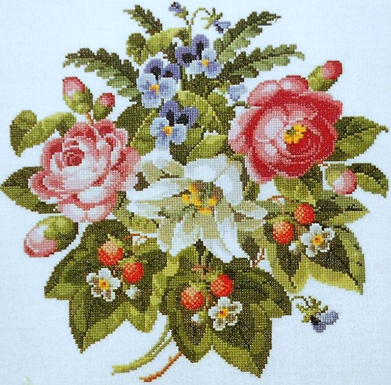 Permin Of Copenhagen ANTIGUE ROSES & STRAWBERRIES Antique Danish Needlework - Counted Cross Stitch