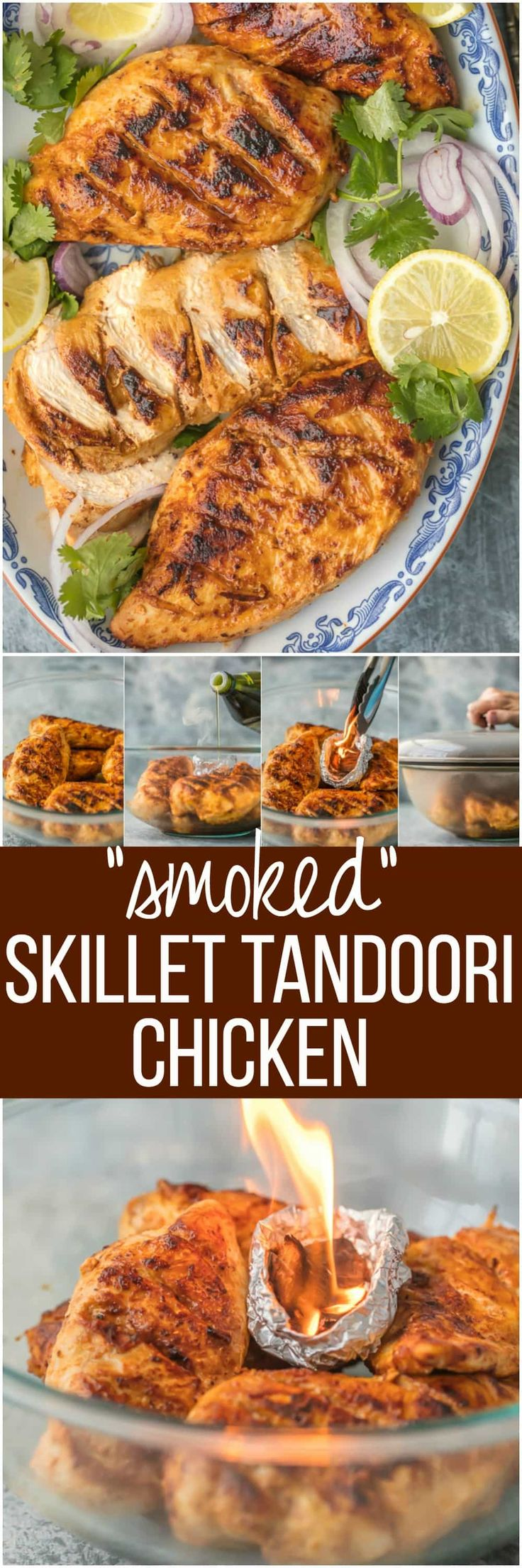 "This ""SMOKED"" SKILLET TANDOORI CHICKEN is loaded with so much flavor you'll swear you used a smoker. Such a fun hack for a delicious and unique dinner at home. via @beckygallhardin"