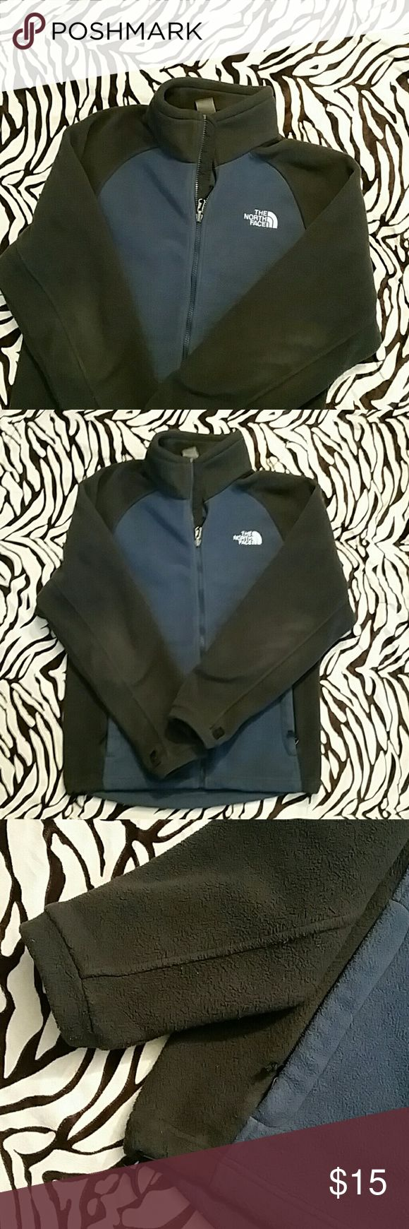 The North Face Mens Jacket Fleece gray/blue fill zip jacket . Authentic jacket. In ok condition Some wear but no holes or stains. The Northface Jackets & Coats