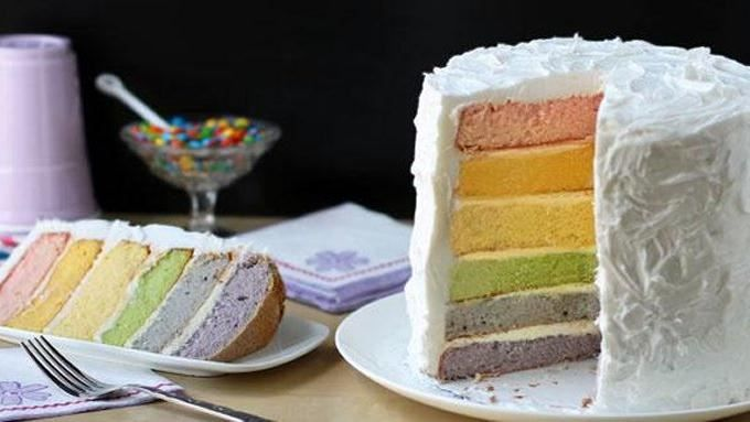 Make a rainbow cake without all the food dyes by using fruits and vegetables to create natural food colorings.