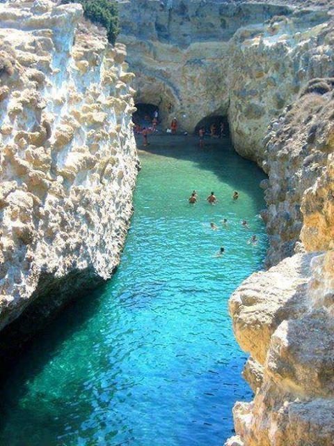 Papafragas Beach in Milos island, Greece.