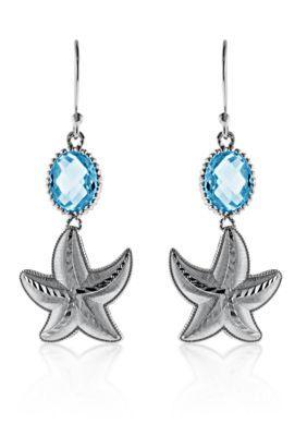 Belk  Co.  Blue Topaz Starfish Earrings in Sterling Silver