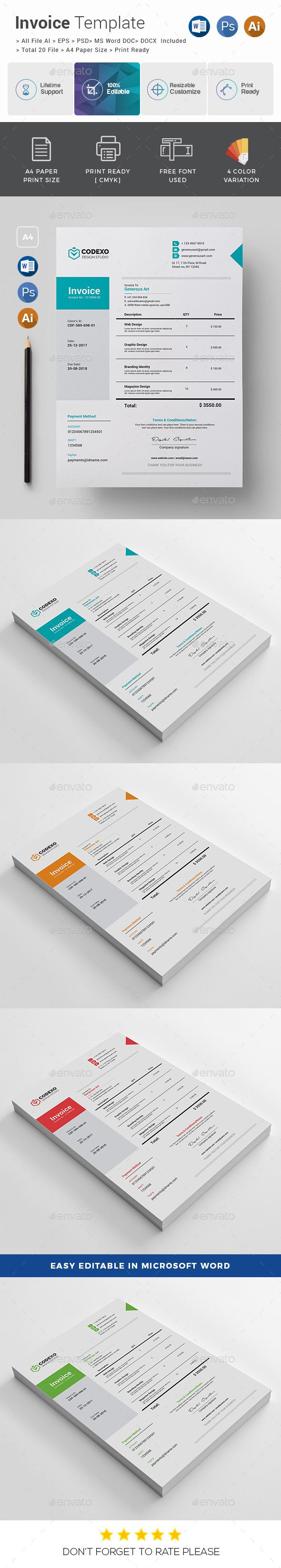 Invoice Template PSD, Vector EPS, AI Illustrator, MS Word - A4 & US Letter Size