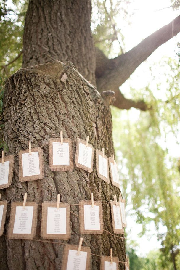 hanging-seating-chart-on-tree. LOVE this burlap seating arrangement idea!