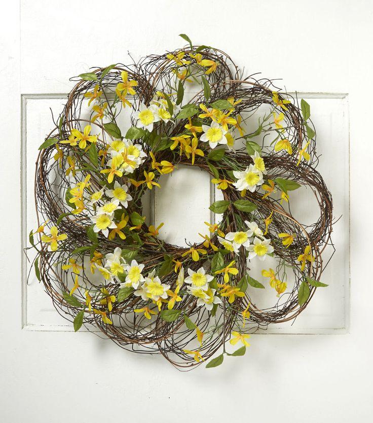 Blooming Spring 24'' Daffodil & Forsythia Twig Wreath