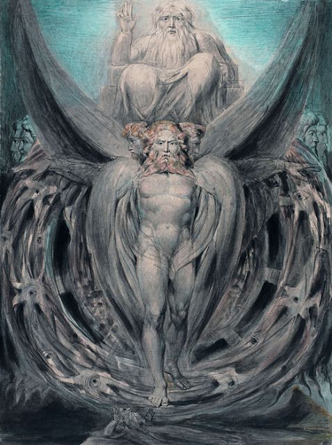 William Blake: The Whirlwind: Ezekiel's Vision of the Cherubim and Eyed Wheels, c.1803.