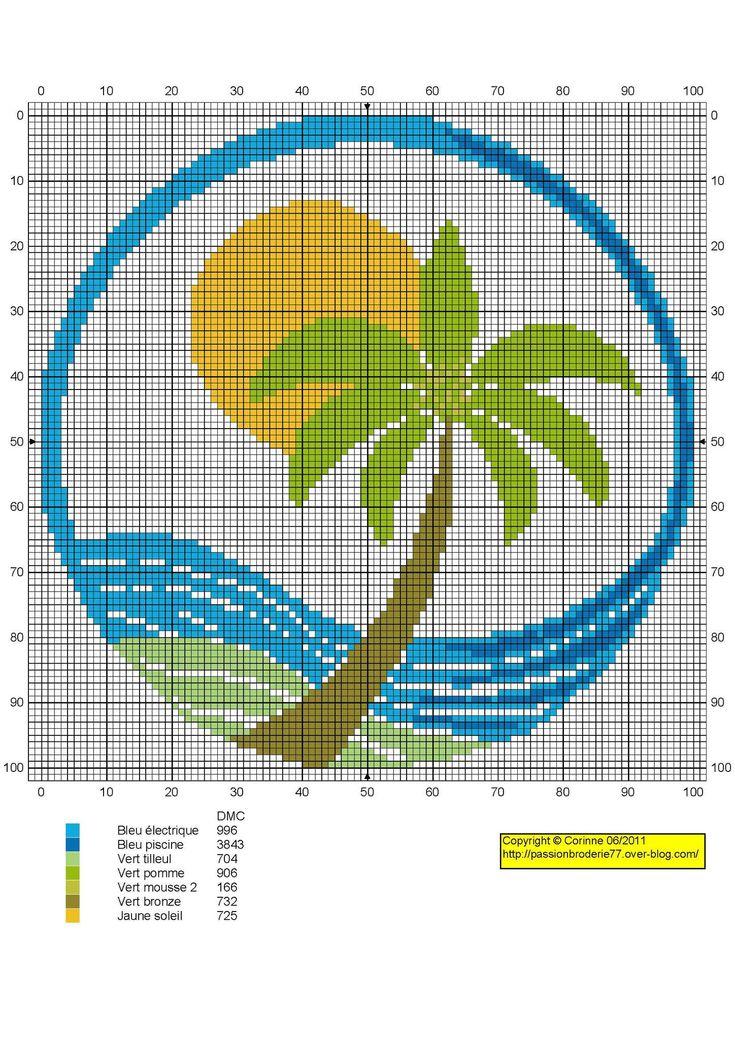 fleur- flower - plant - broderie - embroidery - palmier -  Point de croix - Blog : http://broderiemimie44.canalblog.com/
