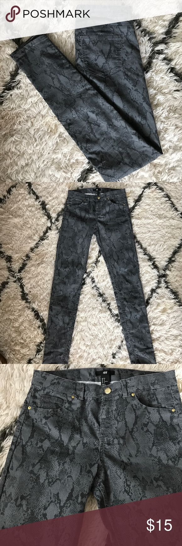 H&M Python Print Pants NWOT Dark gray Python Print pants from H&M. Marked as a size 8 but really fits a size 4. H&M Pants Skinny