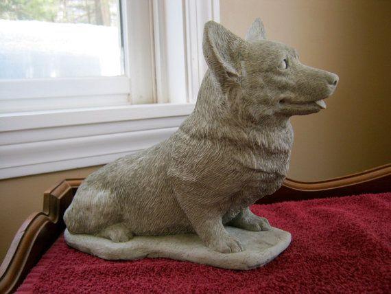 Statues. Corgi Dog Dog Memorial Garden Decor Concrete Corgi Corgi Statue