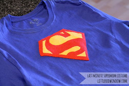 Last Minute Halloween Costume – Superman (aka SuperMom!), quick and easy tutorial for a DIY Superman tshirt!
