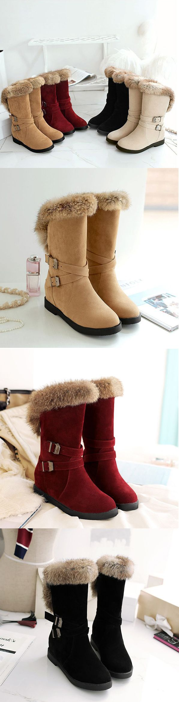 US$39.05Large Size Buckle Furry #Boots