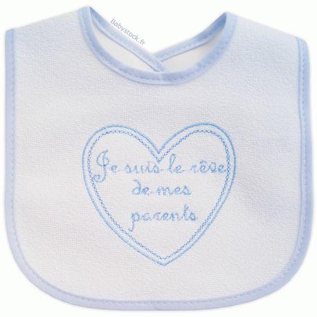 9f8670d9d1905 Bavoir bébé garçon en éponge dos PVC Je suis le rêve de mes parents bleu  fabriqué
