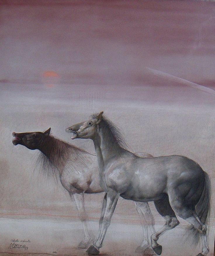 David Manzur Caballos Sedientos Pastel sobre papel 75 x 55 centímetros