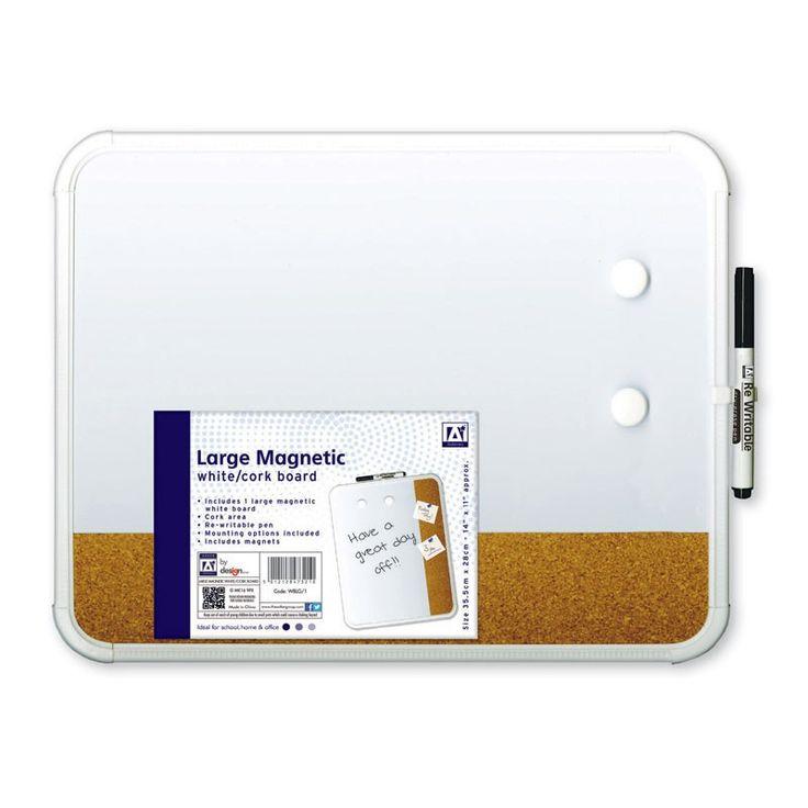 Schrijf memo's en belangrijke notities op dit witte magnetische memobord. Het memobord wordt geleverd met 2 ronde magneten en een uitwisbare stift met een gum op de achterzijde. Aan de zijkant van het bord vind je een baan van kurk, zodat je ook met behulp van punaises notities op kunt hangen. Afmeting: memobord 35 x 28 cm - Magnetisch Memobord