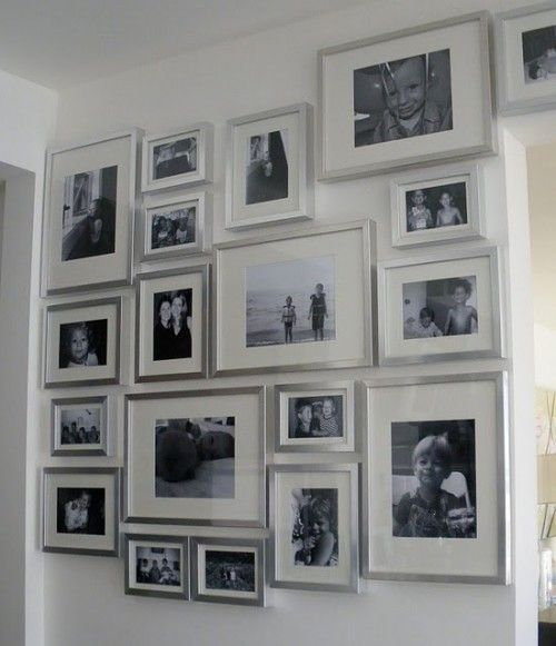 Picture frames on the wall silver frames not black...like