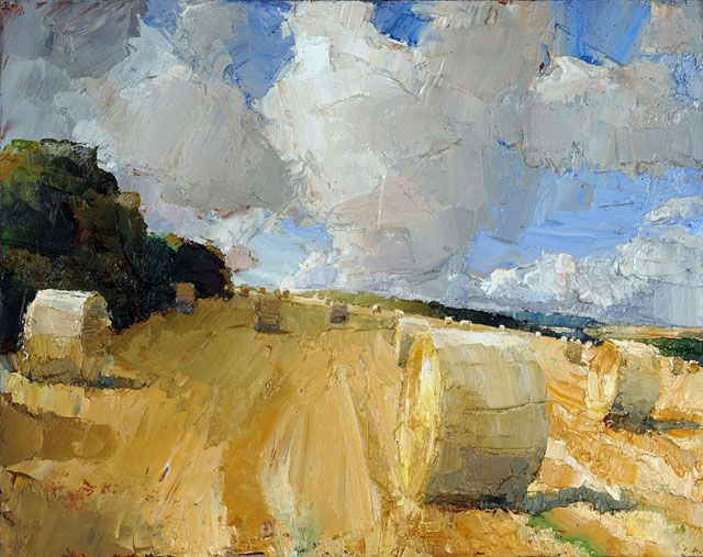 Oliver Akers Douglas. Interesting perspective of hay bales certainly not the traditional view