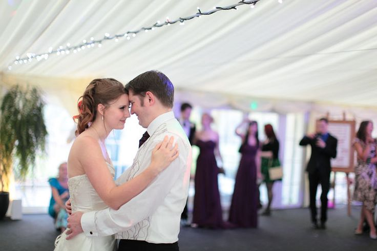 wedding couple having their first dance at The Barnyard