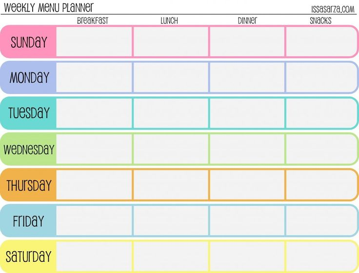 25 best ideas about Meal Planning Templates – Weekly Meal Plan Template