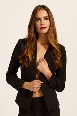 Paper Dolls Black Textured Long Sleeve Casual Blazer