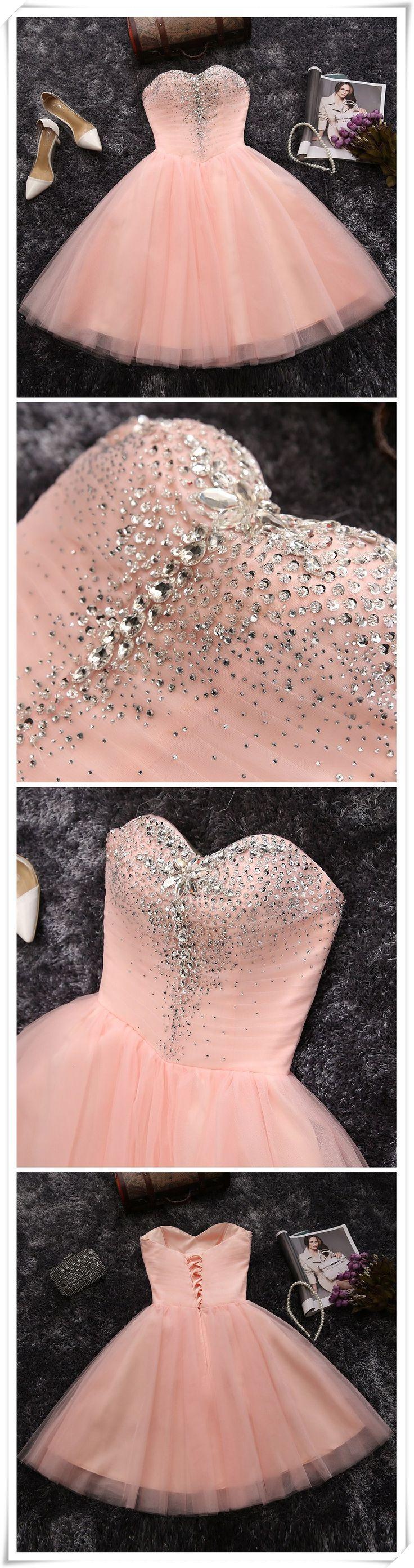 PINK A-LINE SWEETHEART SHORT PROM DRESS JUNIORS HOMECOMING DRESS