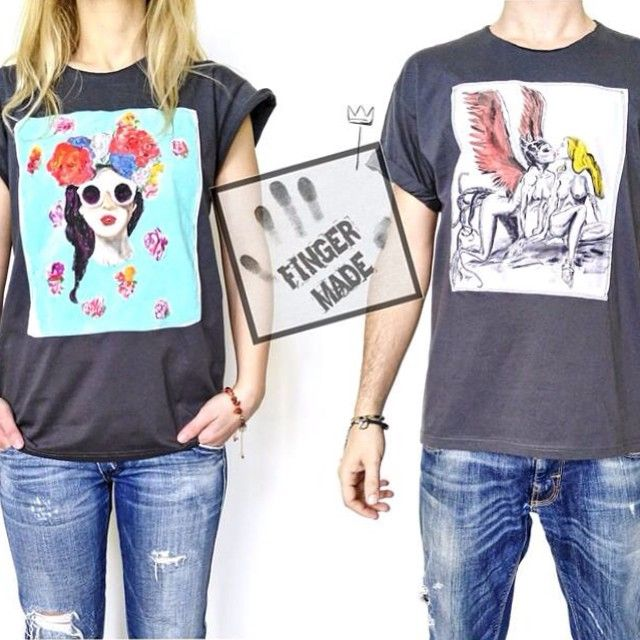 """New clothing brand into our family!! @thefingermade at www.esopou.com #esopou#onlineshop#fashion#designers#newbrand#custom#designed#apparel#handmade#handpainted#fingermade#streetwear#fabric#paint """"All the hand painted T-shirts are made with love"""""""