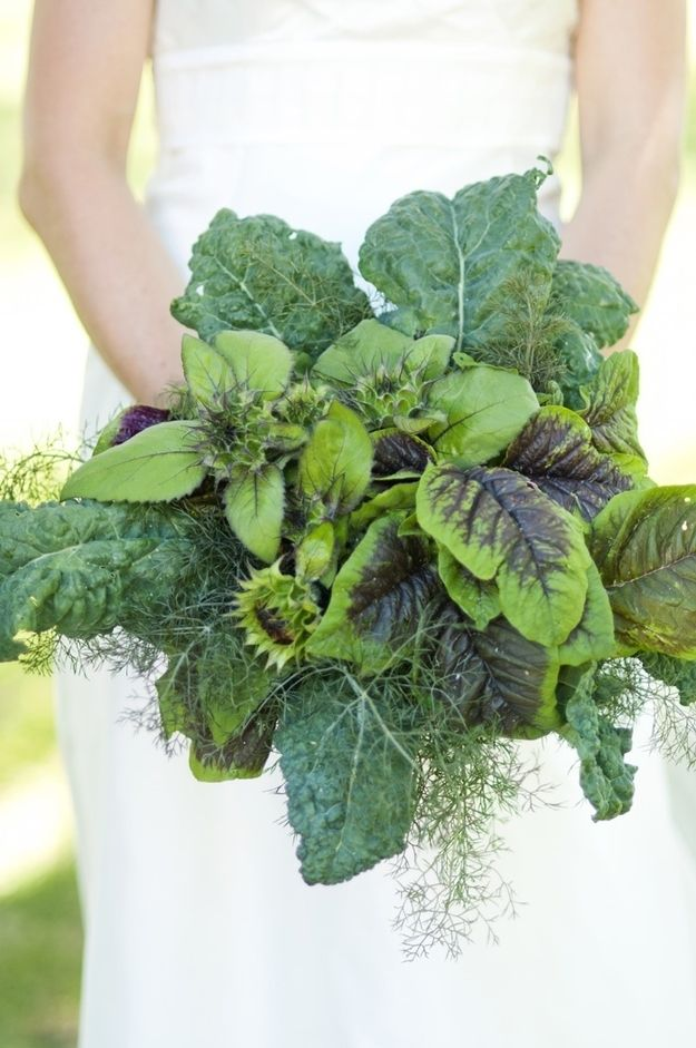 Fresh herbs instead of a flower bouquet -- unique idea! #herbs #bouquet #wedding