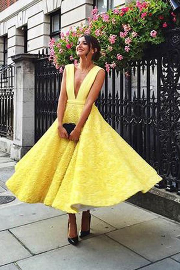 0427491cda45 Cheap homecoming dress uk,Buy A-Line Deep V-Neck Cute Short prom Dresses, Yellow Tea Length Sleeveless Open Back Lace Prom Dresses UK PH475 on  PromDress.me. ...