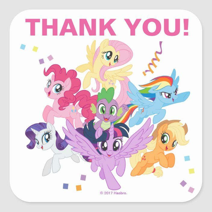 My Little Pony Hot Pink Birthday Thank You Square Sticker Zazzle Com My Little Pony Party Hot Pink Birthday My Little Pony Birthday