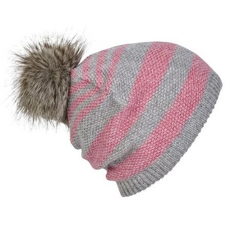 SEED STITCH STRIPE WITH FUR TRIM BEANIE: This faux fur pom pom beanie is 40% wool so not only looks great but is warm too.